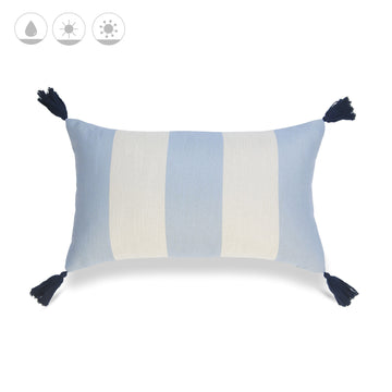 Beach Coastal Outdoor Lumbar Pillow Cover, Malta, Striped Tassel, Sky Blue, 12