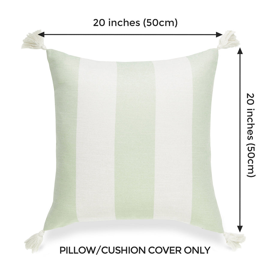 Beach Coastal Pillow Cover, Malta, Striped Tassel, Pale Green, 20