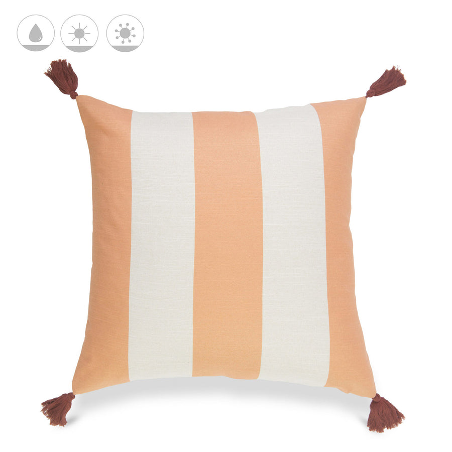 Beach Coastal Pillow Cover, Malta, Striped Tassel, Orange, 20