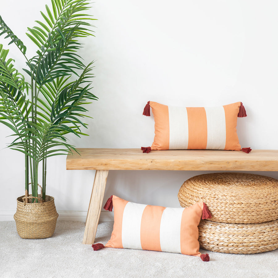Beach Coastal Lumbar Pillow Cover, Malta, Striped Tassel, Orange, 12