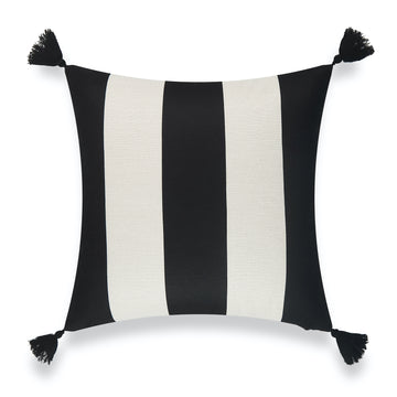 Modern Boho Outdoor Pillow Cover, Malta, Striped Tassel, Black, 20