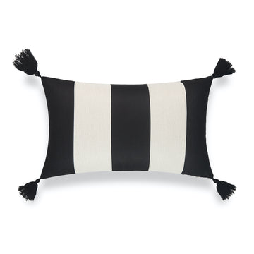 Modern Boho Outdoor Lumbar Pillow Cover, Malta, Striped Tassel, Black, 12