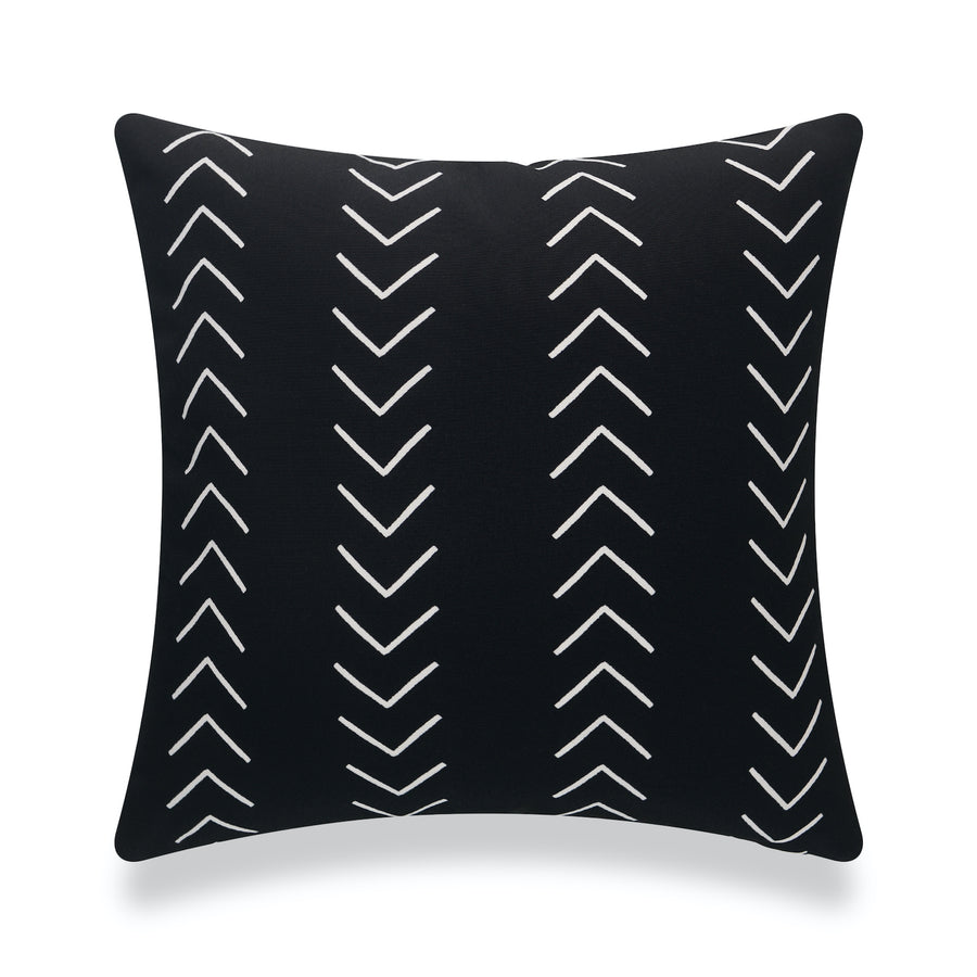 Mudcloth Inspired Outdoor Pillow Cover, Arrowhead Black, 18