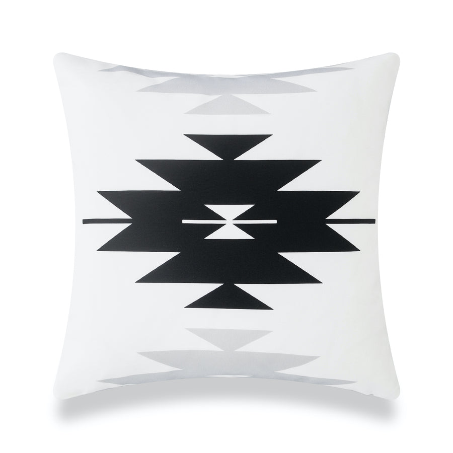 Modern Boho Outdoor Pillow Cover, Black Gray Aztec Triangles, 18