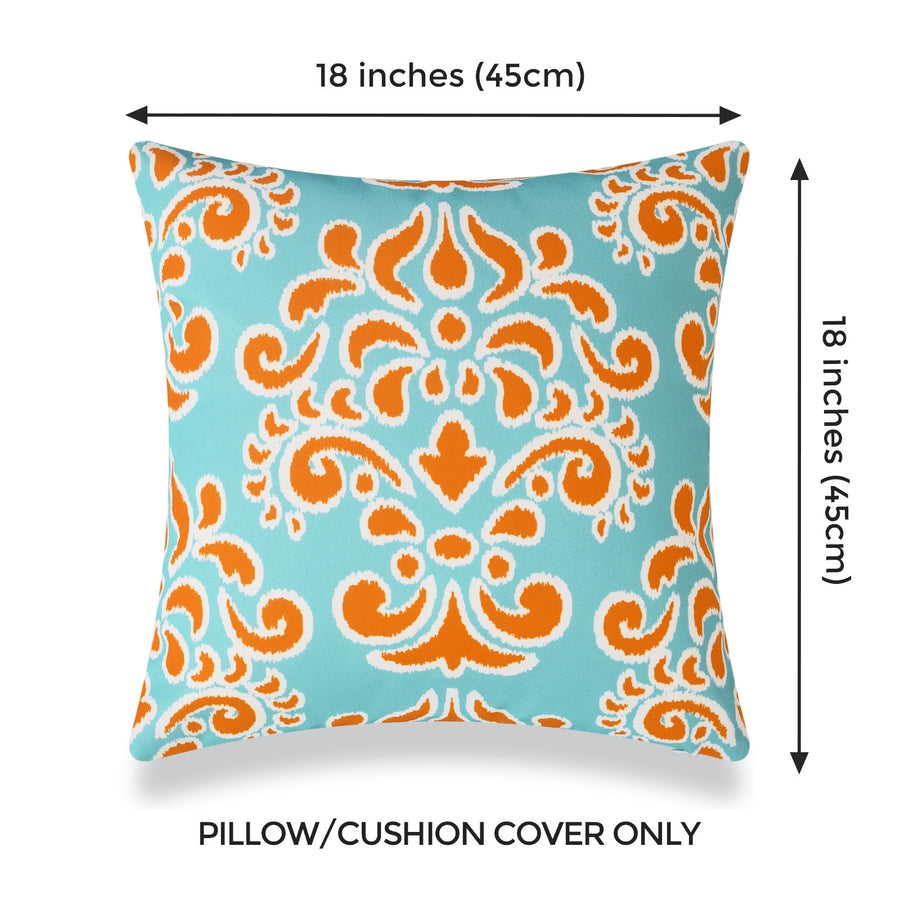 Coastal Outdoor Pillow Cover, Orange Aqua Damask, 18