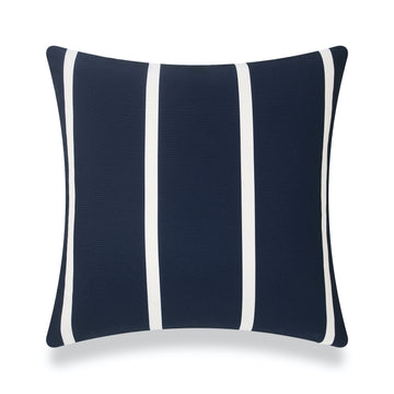 Classic Outdoor Pillow Cover, Dark Navy Blue Wide Striped, 20
