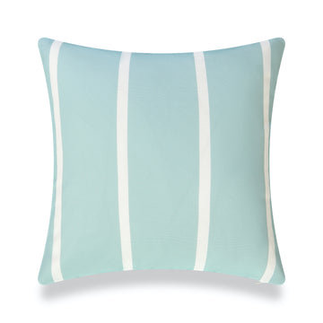 Classic Outdoor Pillow Cover, Aqua Wide Striped, 20