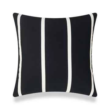 Classic Outdoor Pillow Cover, Black Wide Striped, 20