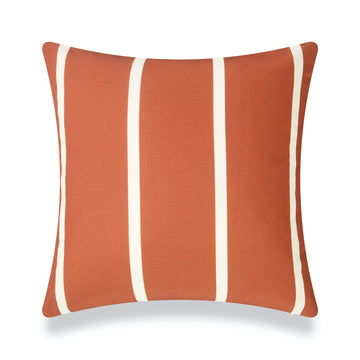 Classic Outdoor Pillow Cover, Rust Orange Wide Striped, 20