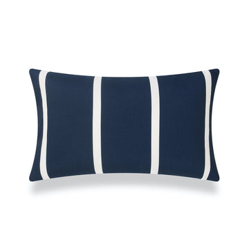 Classic Outdoor Lumbar Pillow Cover, Dark Navy Blue Wide Striped, 12