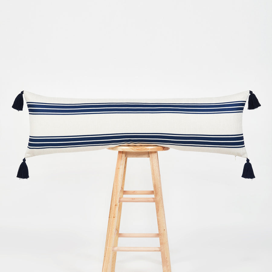 Coastal Outdoor Lumbar Pillow Cover, Aviv, Stripe Tassel, Navy Blue, 12