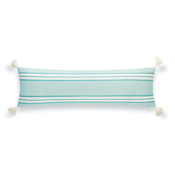 Beach Outdoor Lumbar Pillow Cover, Aviv, Stripe Tassel, Aqua Turquoise, 12