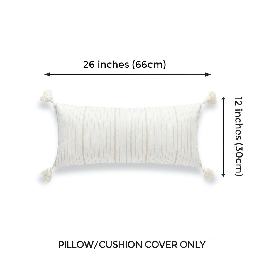Beach Outdoor Lumbar Pillow Cover, Missi, Stripe Tassel, Camel Sand, 12
