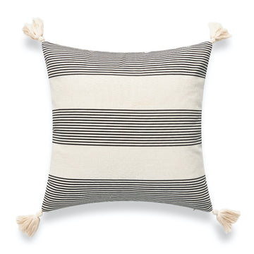 Modern Boho Outdoor Pillow Cover, Striped Tassel, Gray, 18
