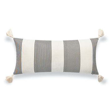 Modern Boho Outdoor Lumbar Pillow Cover, Striped Tassel, Gray, 12