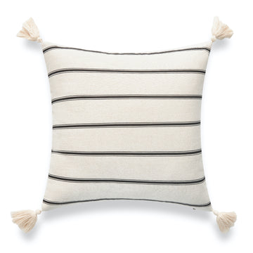 Modern Boho Outdoor Pillow Cover, Striped Tassel, Beige, 18