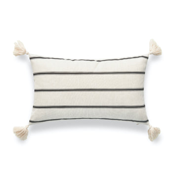Modern Boho Outdoor Lumbar Pillow Cover, Striped Tassel, Beige, 12