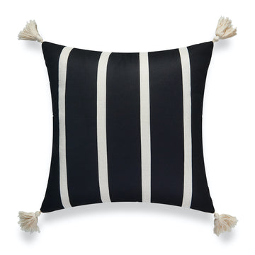 Modern Boho Outdoor Pillow Cover, Striped Tassel, Black, 18