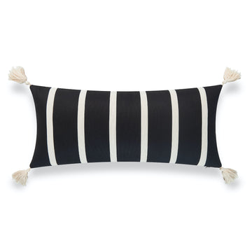Modern Boho Outdoor Lumbar Pillow Cover, Striped Tassel, Black, 12
