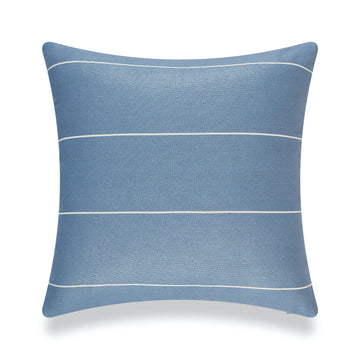 Modern Boho Outdoor Pillow Cover, Blue Striped, 20