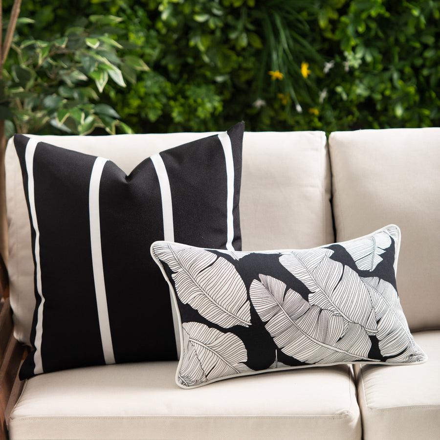 Tropical Outdoor Lumbar Pillow Cover, Black White Palm Leaves, 12