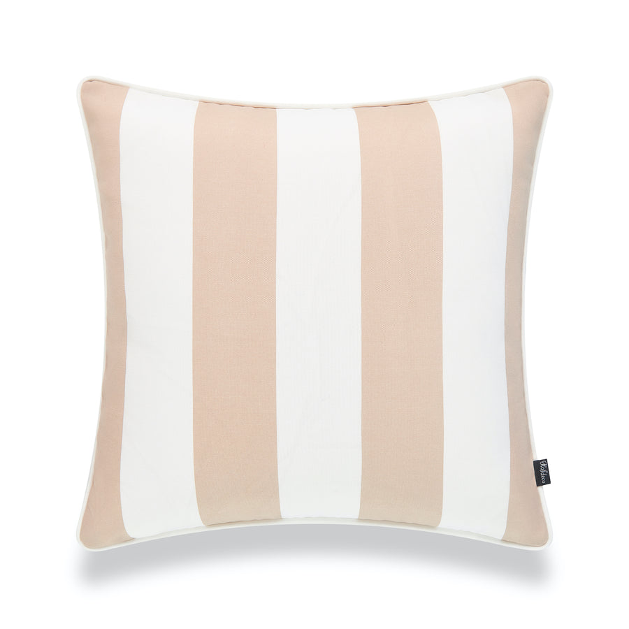 Coastal Outdoor Pillow Cover, Tan Sand Stripes, 18
