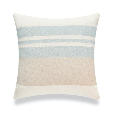 Beach Coastal Throw Pillow Cover, Blue Taupe Color Block, 18