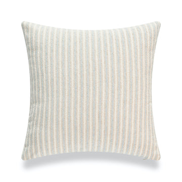 Beach Coastal Throw Pillow Cover, Blue Taupe Ticking Stripes, 18