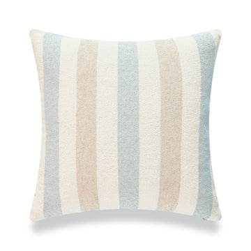 Beach Coastal Throw Pillow Cover, Blue Taupe Vertical Stripes, 18