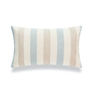 Beach Coastal Lumbar Pillow Cover, Blue Taupe Vertical Stripes, 12