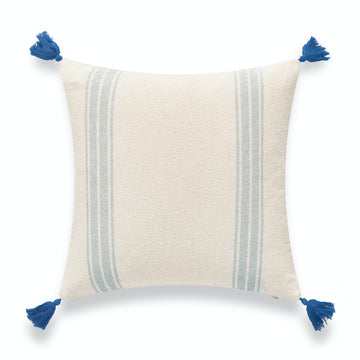 Beach Coastal Morrocan Throw Pillow Cover, Blue Striped Tassels, 20