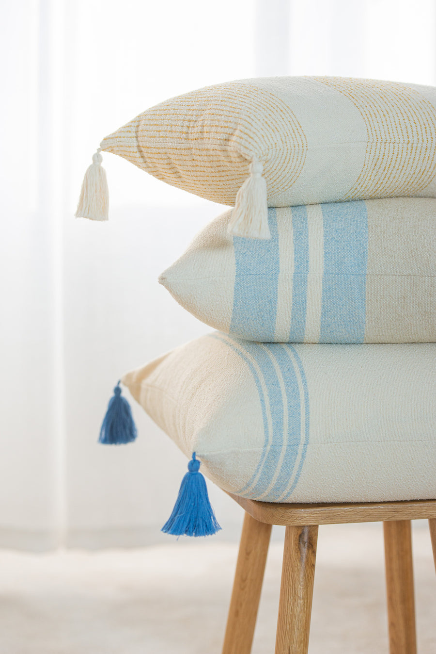 Beach Coastal Moroccan Throw Pillow Cover, Blue Striped Tassels, 20