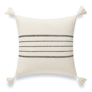 Modern Boho Moroccan Throw Pillow Cover, Black Gray Center Striped Tassels, 18