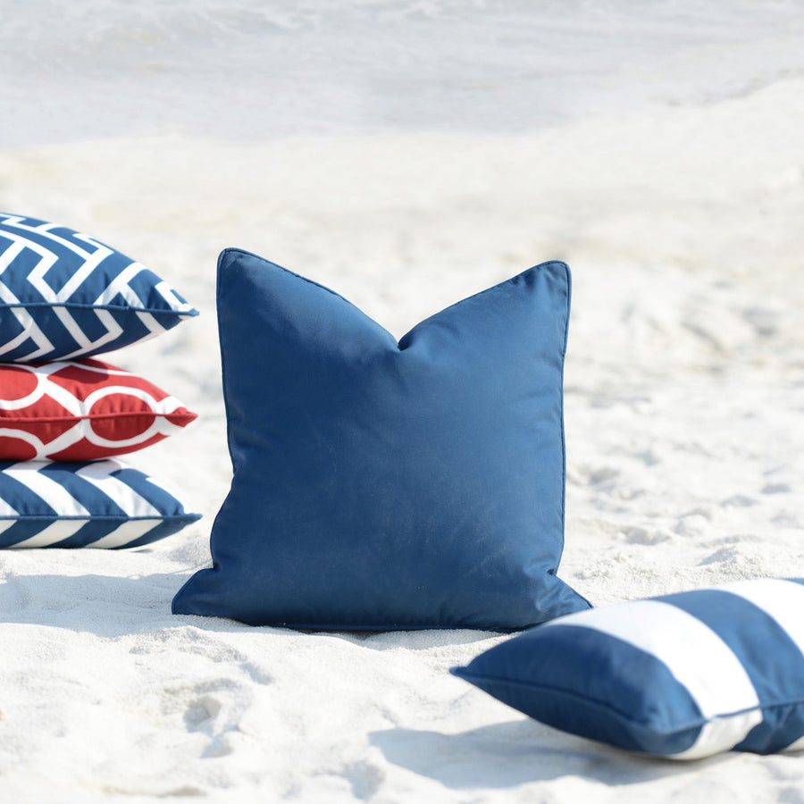 Navy Blue Outdoor Pillow Cover, Solid, 18
