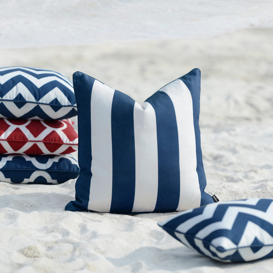Navy Blue Outdoor Pillow Cover, Stripes, 18