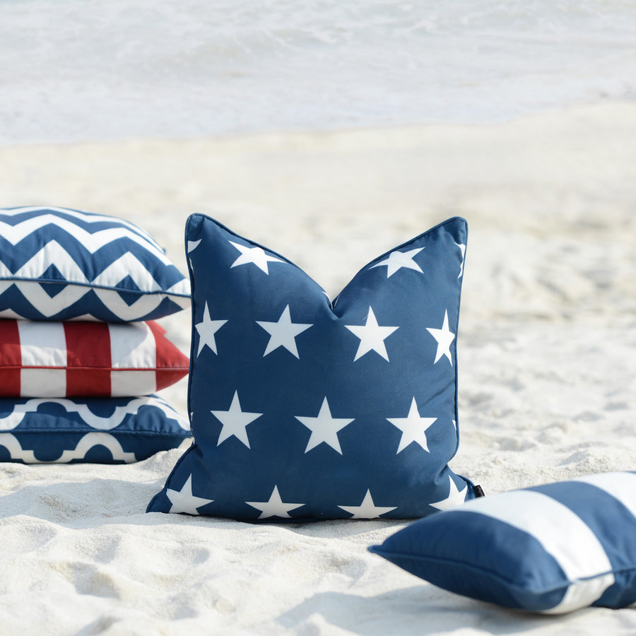 Navy Blue Outdoor Pillow Cover, Stars, 18