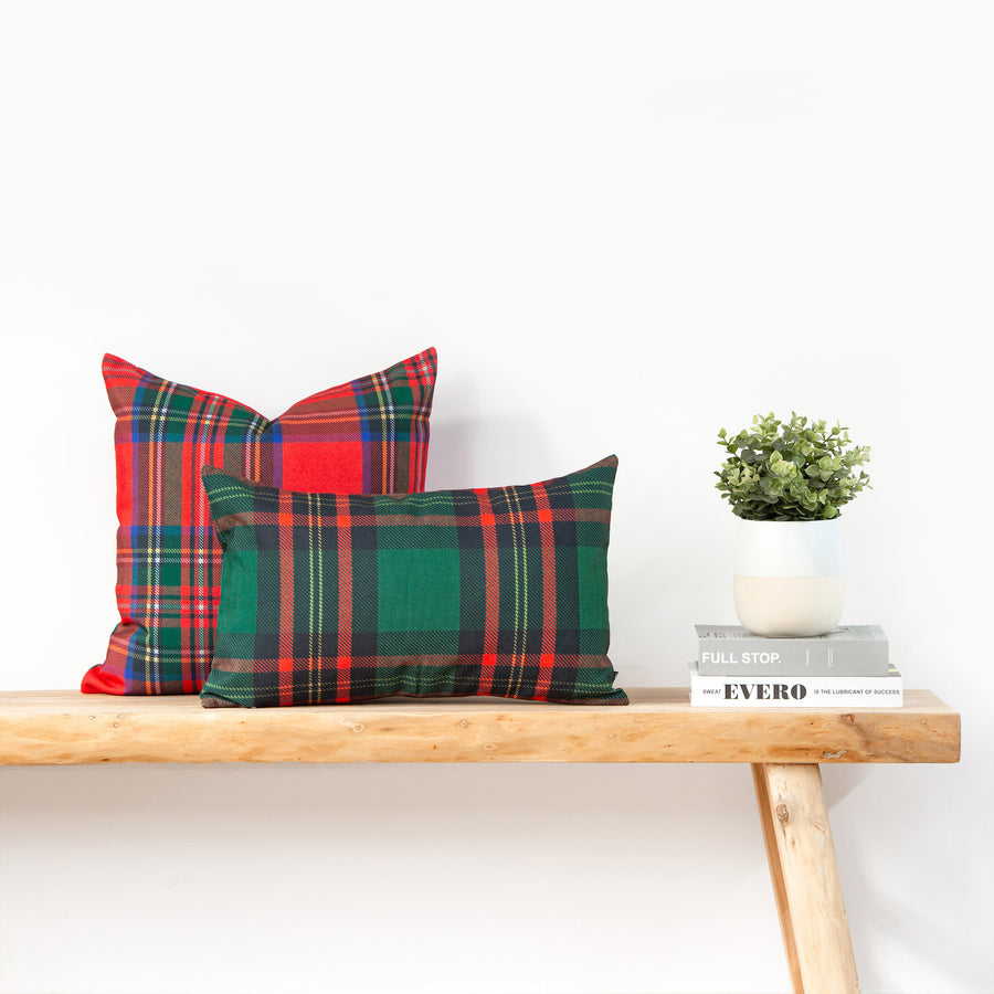Holiday Lumbar Pillow Cover, Classic Moran Tartan Plaid, Green, 12