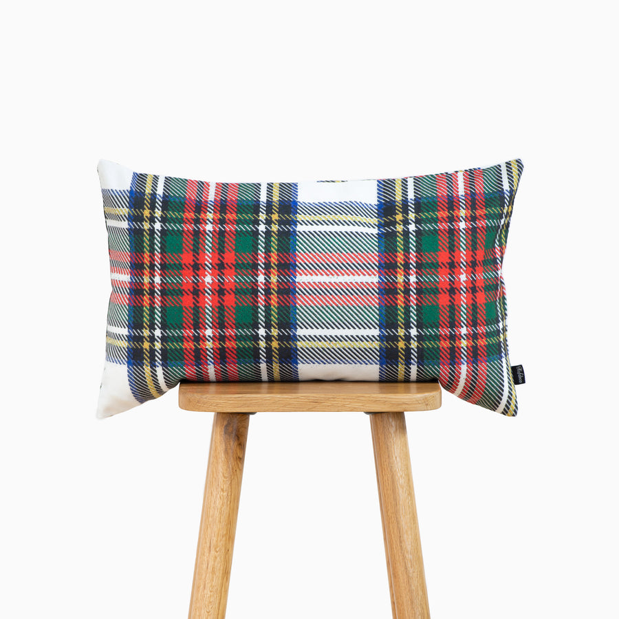 Holiday Lumbar Pillow Cover, Classic Royal Stewart Tartan Plaid, Gray, 12