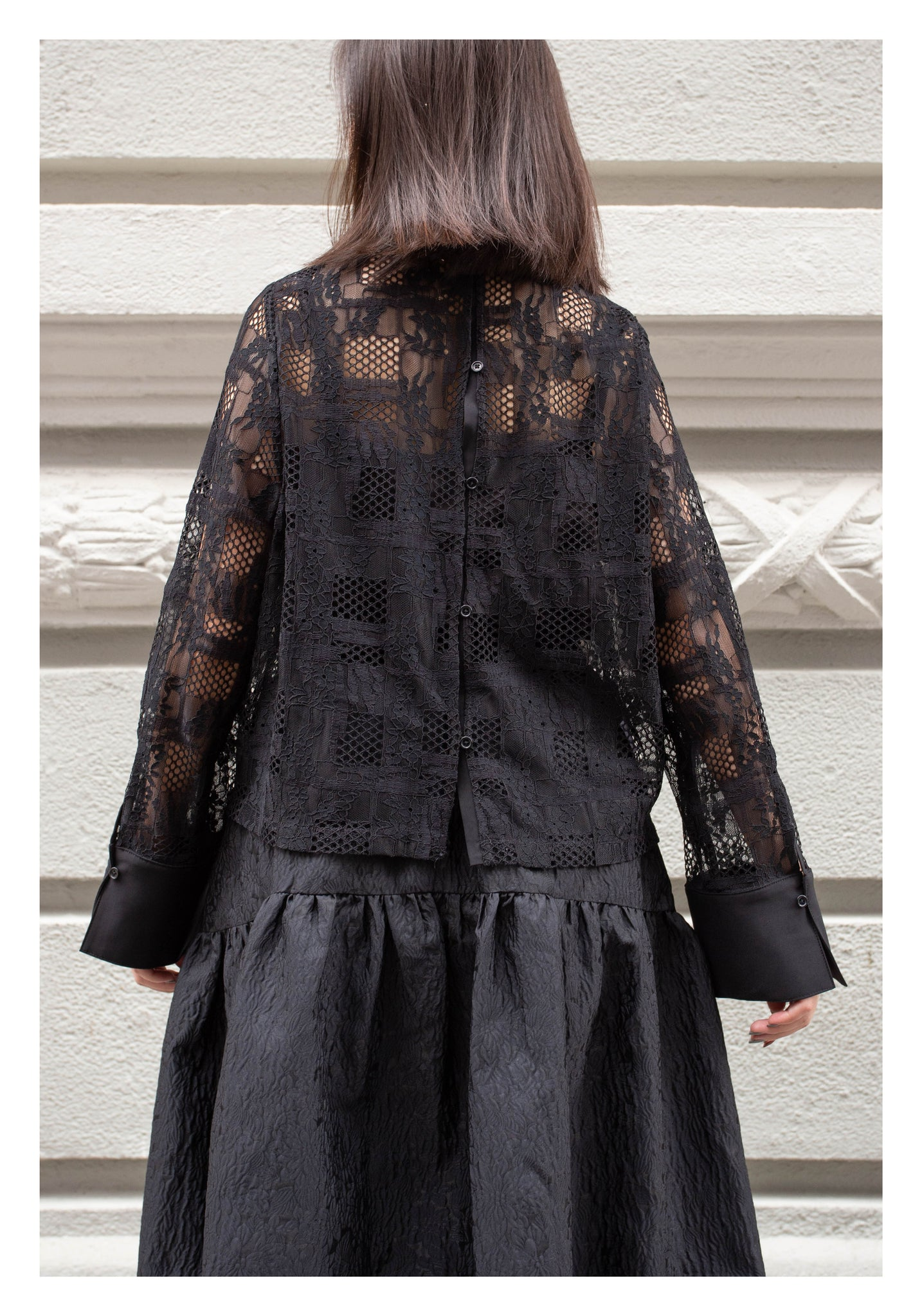 Two Ways Lace Blouse Black - whoami
