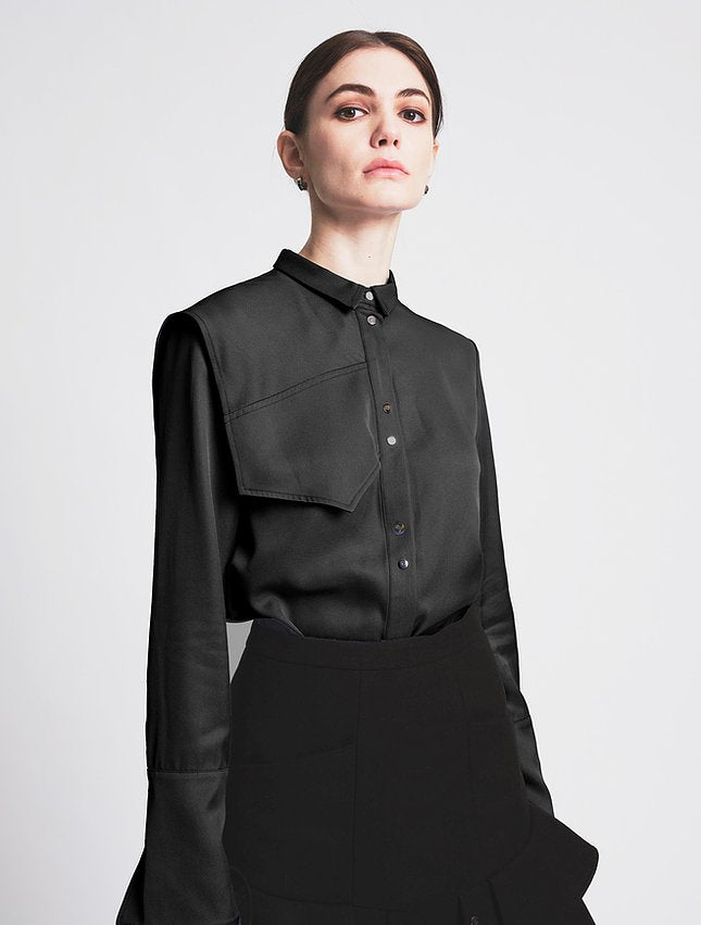 Asymmetric Shoulder Shirt Black - whoami