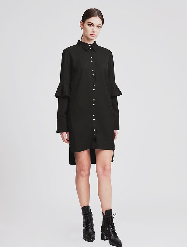 Ruffle Sleeves Shirt Dress - whoami
