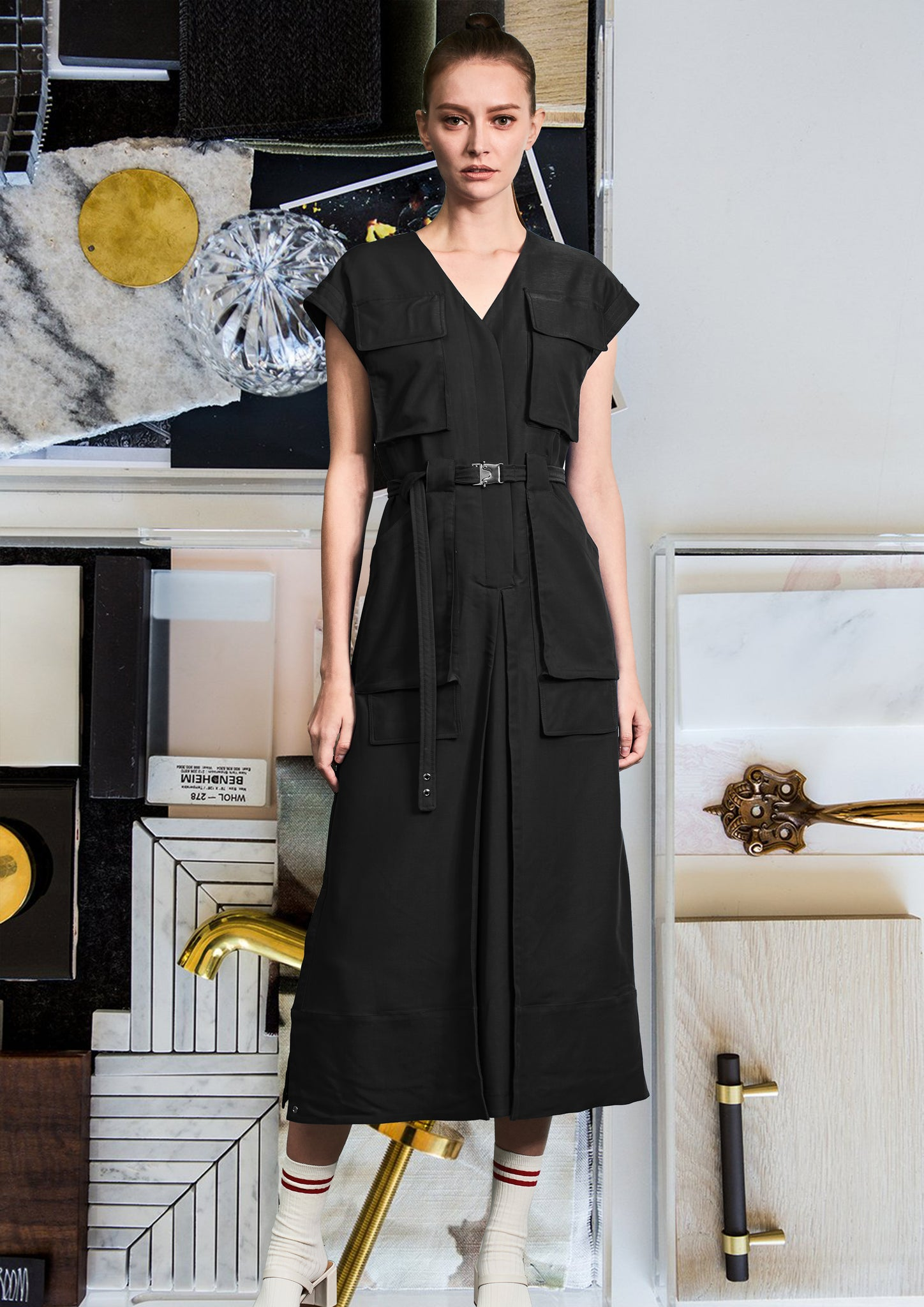 Pockets Pant-like Dress Black - whoami