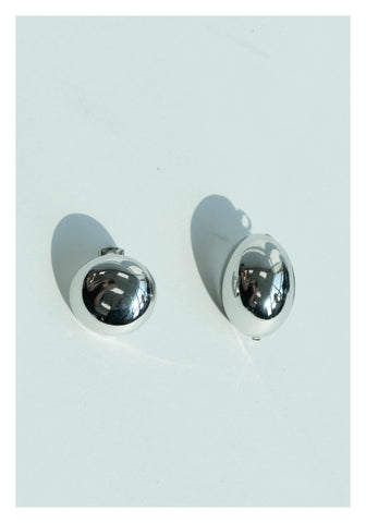 Oval And Circle Modern Earrings Silver - whoami