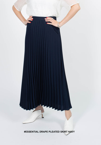 Essential Drape Pleated Skirt Navy