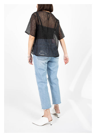 Origami See Through Top Black