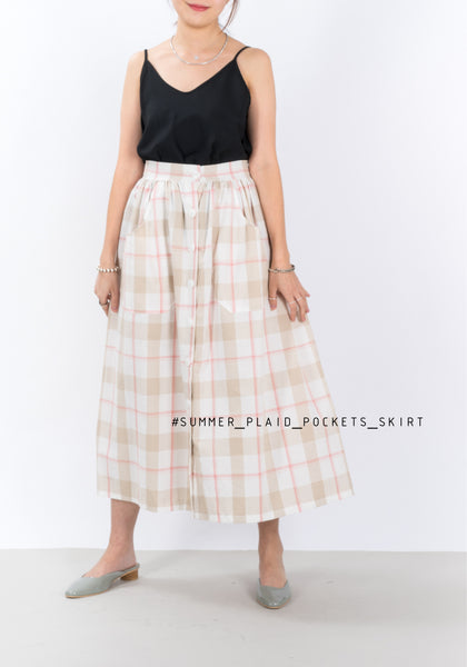 Summer Plaid Pocket Skirt Pink