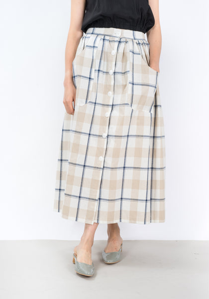 Summer Plaid Pocket Skirt Beige