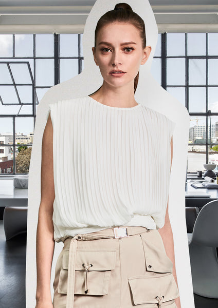 Pleating Blouse With Silver Rings White - whoami