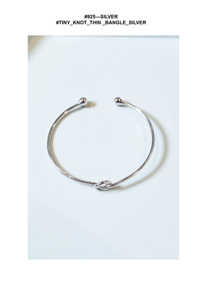 925 Silver Tiny Knot Thin Bangle Silver - whoami