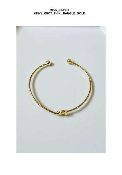 925 Silver Tiny Knot Thin Bangle Gold - whoami